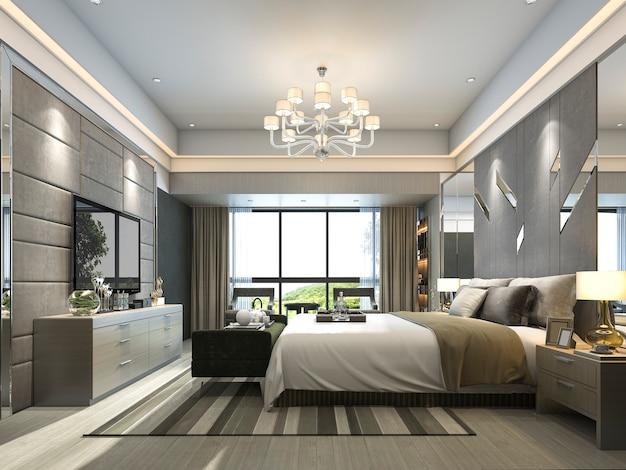 Rendering camera da letto moderna di lusso in hotel