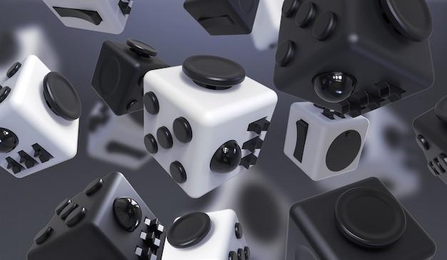 Rendering del cubo di fidget, giocattolo delle dita. composizione astratta con il giocattolo del cubo.