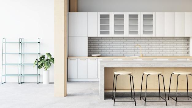 Rendering dell'interno / 3d della stanza della cucina del sottotetto