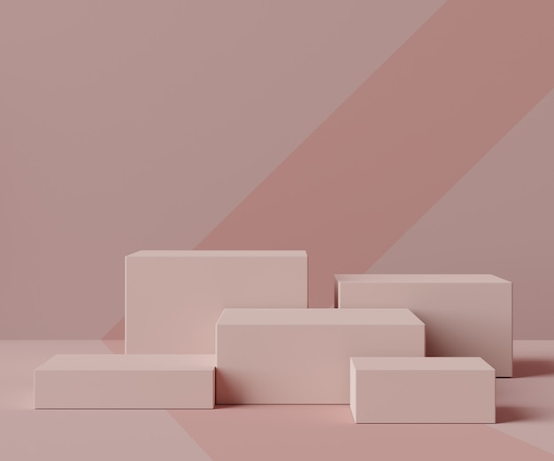 Rendering della scena del podio scatola minimale per prodotti display e pubblicità cosmetica