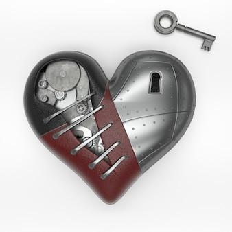 Rendering di cuore in stile 3d steampunk