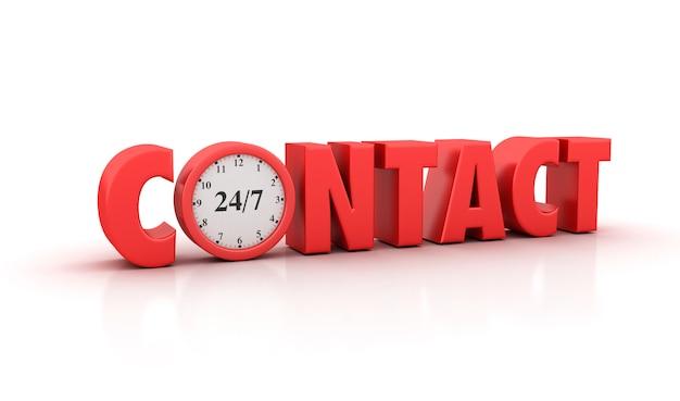 Rendering illustation di contact word con clock