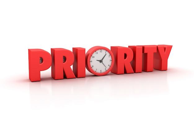 Rendering illustation di priority word con orologio