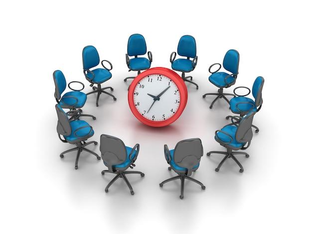 Rendering illustrazione sedie con orologio