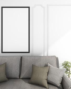 Rendering mock up divano vivente vicino al muro