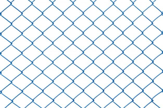 Rete blu del metallo del primo piano al recinto isolato su fondo bianco