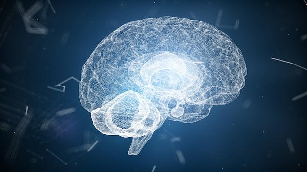 Rete blu medica astratta del wireframe del cervello di incandescenza e punto di collegamento
