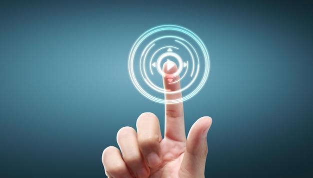 Rete commovente del cliente della connessione globale dell'interfaccia dello schermo del bottone delle mani