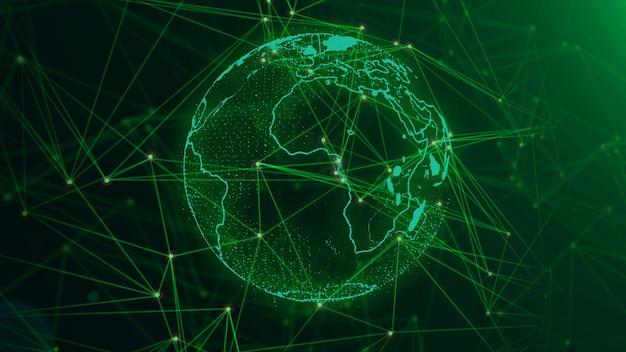 Rete con nodi collegati in background. concetto di rete globale.