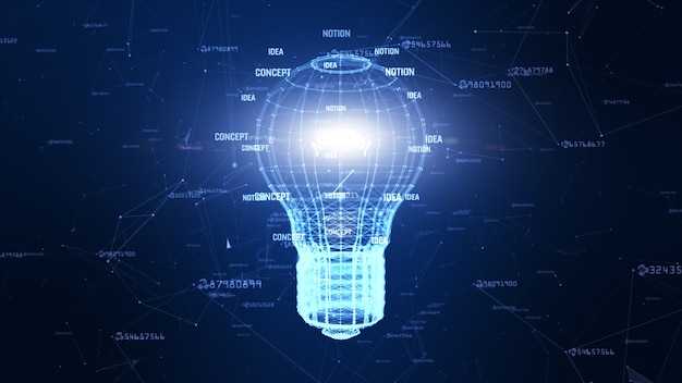 Rete di tecnologia con l'idea creativa del fondo blu digitale della lampada per la rete nel concetto digitale del mondo