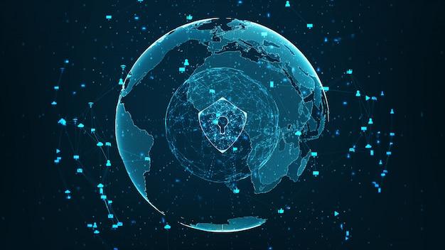 Rete di tecnologia internet e concetto di sicurezza informatica.