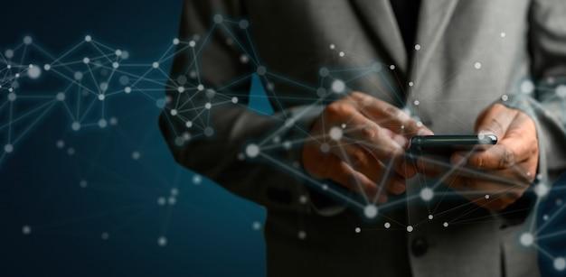 Rete e dati cliente connessione cloud basato web man rete sfera rendering 3d