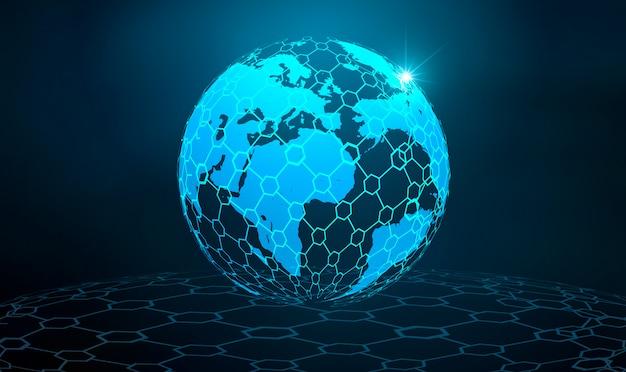 Rete globale rete di comunicazioni di terra mappa del mondo mappa blu