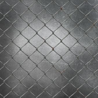 Rete metallica 3d su sfondo di metallo grunge