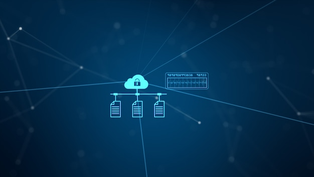 Rete tecnologica e connessione dati. secure data network e informazioni personali.