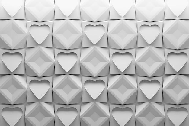 Reticolo 3dd con la ripetizione delle mattonelle quadrate con i cuori