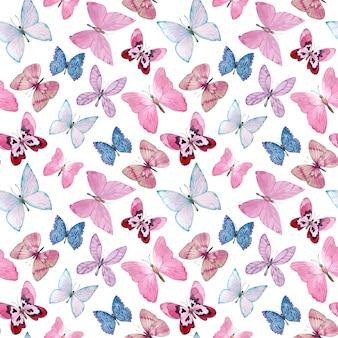 Reticolo dell'acquerello con bellissime farfalle. farfalle rosa e blu disegnate a mano su bianco