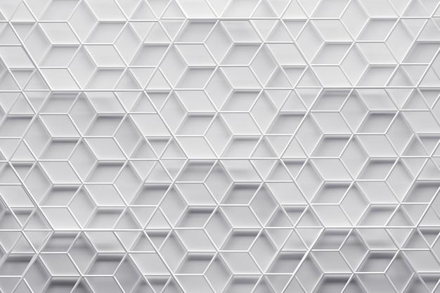 Reticolo geometrico bianco 3d con wireframe degli strati di esagono