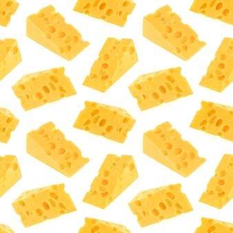 Reticolo senza giunte del formaggio isolato su bianco