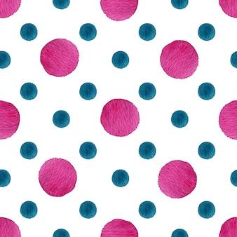 Reticolo senza giunte dell'acquerello a pois nei colori rosa e blu.