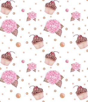 Reticolo senza giunte dell'acquerello con cupcakes al cioccolato e ortensie rosa, stampa tessile