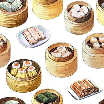 Reticolo senza giunte dell'acquerello con dim sum di cibo cinese