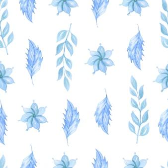 Reticolo senza giunte dell'acquerello con fiori blu