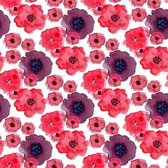 Reticolo senza giunte dell'acquerello con fiori di papavero. può essere utilizzato per il confezionamento, la progettazione tessile e la confezione