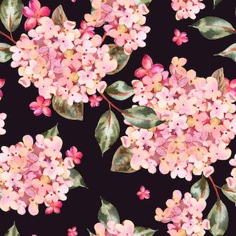 Reticolo senza giunte dell'acquerello con ortensie in fiore rosa, piccoli fiori di campo.