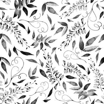 Reticolo senza giunte dell'acquerello di fiori e foglie di estate su uno sfondo chiaro.