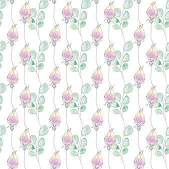 Reticolo senza giunte dell'acquerello di fiori e foglie di estate