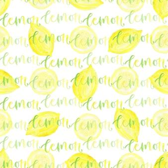 Reticolo senza giunte dell'acquerello limone con calligrafia.