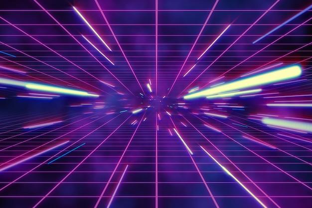 Retro astratto del movimento dell'iperspazio o del filo di ordito nell'illustrazione porpora blu della traccia 3d della stella