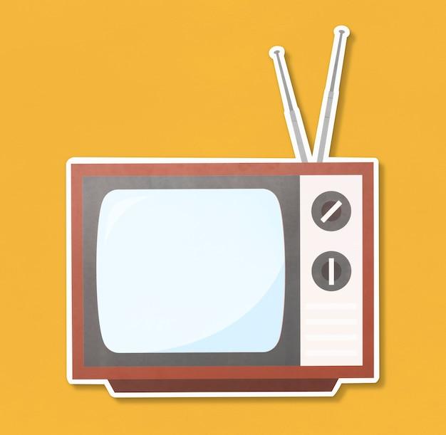 Retro icona dell'illustrazione della tv