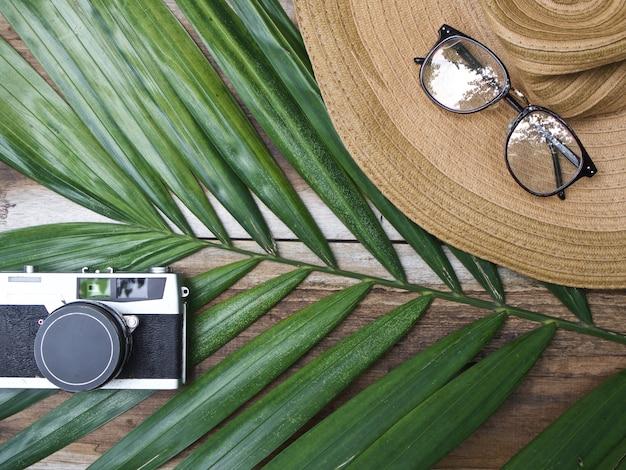 Retro macchina da presa, cappello di paglia, vetri e foglia di palma verde su fondo di legno