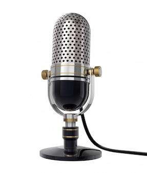 Retro microfono 3d (vista laterale). isolato