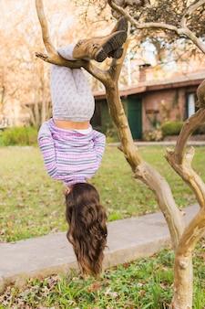 Retrovisione della ragazza che appende sottosopra sulla sua gamba sopra il ramo di albero