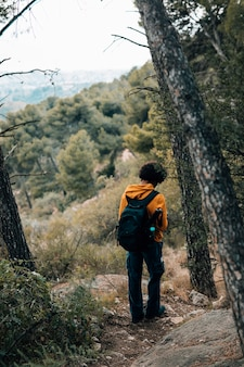 Retrovisione di una viandante maschio che fa un'escursione nella foresta