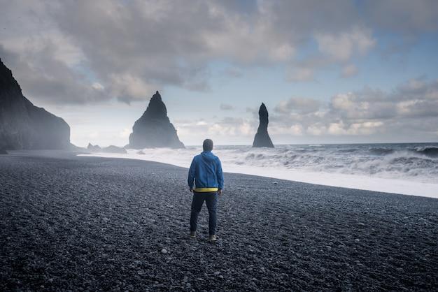 Reynisfjara black sand beach a vik, islanda