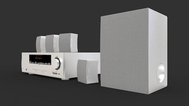 Ricevitore dvd e sistema home theater con altoparlanti e subwoofer in alluminio. illustrazione 3d