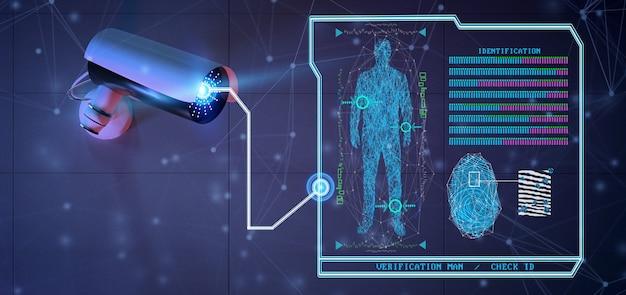 Riconoscimento e software di rilevamento su un sistema di telecamere di sicurezza - rendering 3d