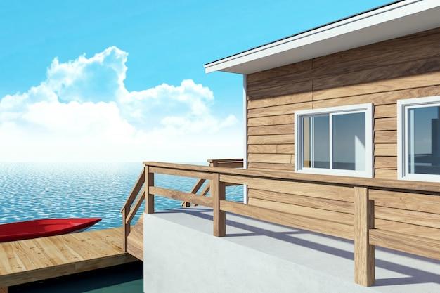 Ricorso moderno del bungalow dell'su-acqua per la vacanza con la barca, rappresentazione 3d