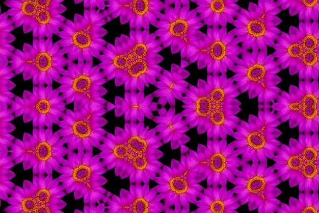 Riflessione astratta di loto viola vista dall'alto e polline giallo, sfondo caleidoscopio
