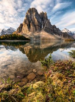 Riflessione della montagna rocciosa sul lago cerulean nel parco provinciale di assiniboine