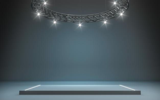 Riflettore sfondo e lampada con palco. rendering 3d