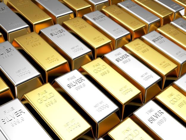 Righe di lingotti d'oro e d'argento