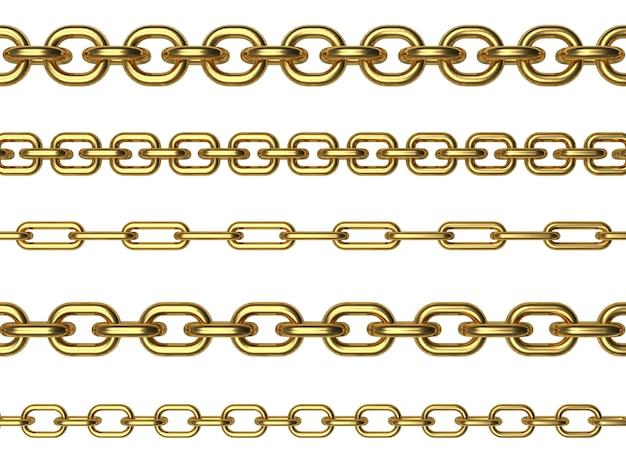 Righe di varie catene d'oro