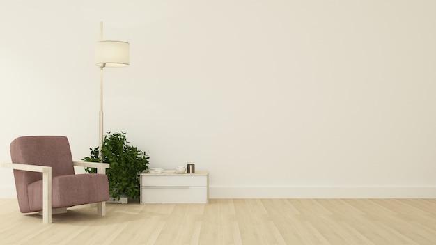 Rilassare lo spazio sfondo bianco rendering 3d interni