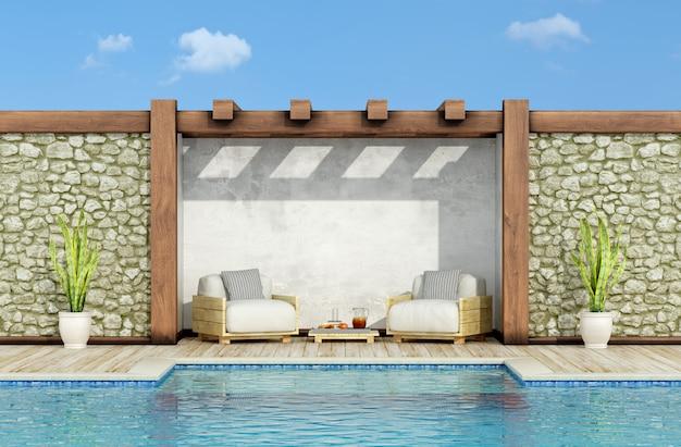 Rilassarsi in un giardino con piscina