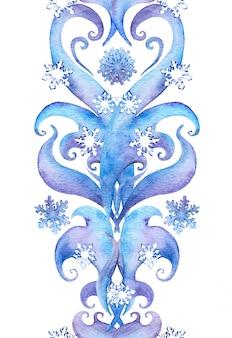 Ripetendo la cornice di confine invernale con fiocchi di neve.